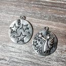 AB-5725 - Gunmetal Charm/Pendant With Angel, Stars and Crystal, 23mm | Pkg 2