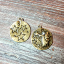AB-5724 - Antique Brass Charm/Pendant With Angel, Stars and Crystal, 23mm | Pkg 2