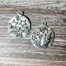 AB-5723 - Silver Charm/Pendant With Angel, Stars and Crystal, 23mm | Pkg 2