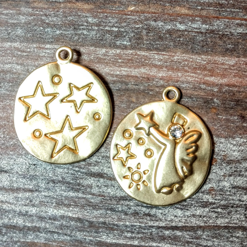 AB-5722 - Gold Charm/Pendant With Stars, Angel And Crystal, 23mm | Pkg 2