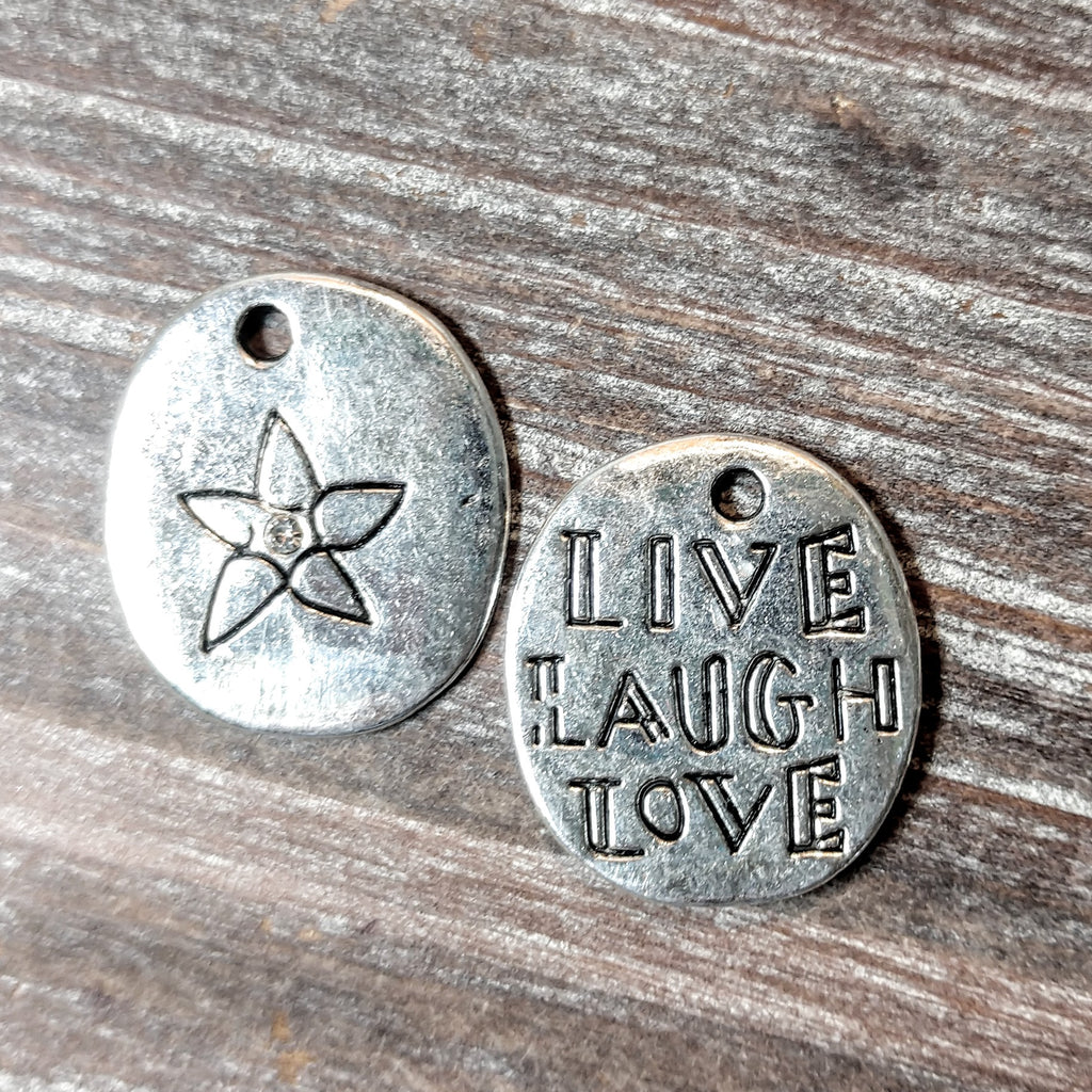 AB-5732 - 2 Sided Silver Charm, Live, Laugh, Love, 20x22mm | Pkg 2