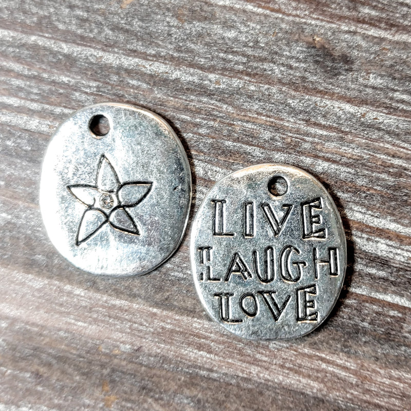AB-5732 - 2 Sided Silver Charm,Live,Laugh,Love,20x22mm | Pkg 2