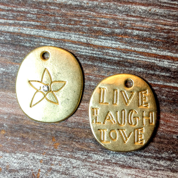 AB-5733 - Matte Gold Live,Laugh,Love Charm,20x22mm | Pkg 2