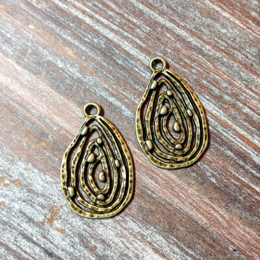 AB-5740 - Antique Brass Teardrop With Swirls Charm/Pendant,18x28mm | Pkg 2