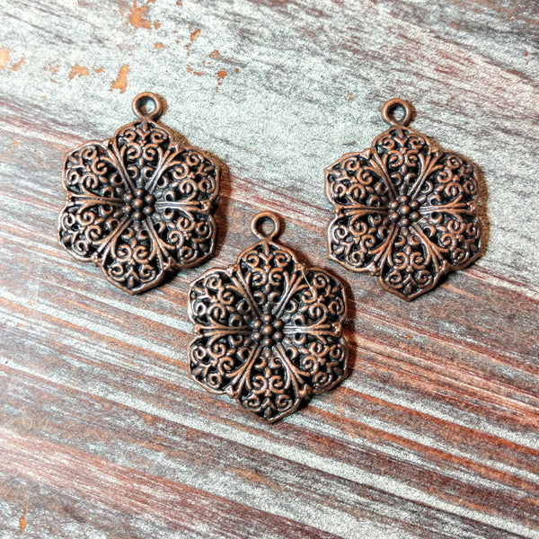 AB-5744 - Antique Copper Flower Pendant,25mm | Pkg 3