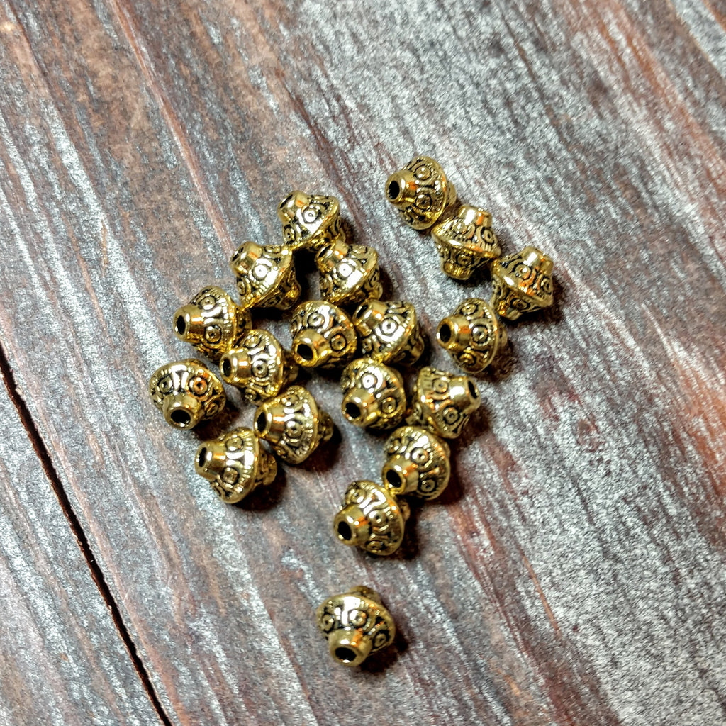 AB-5763 - Antique Gold Bali Style Bead With Band,6.5mm | Pkg 20