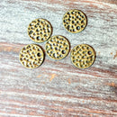 AB-5774 - Antique Brass Hammered Disc Charms,10mm | Pkg 10