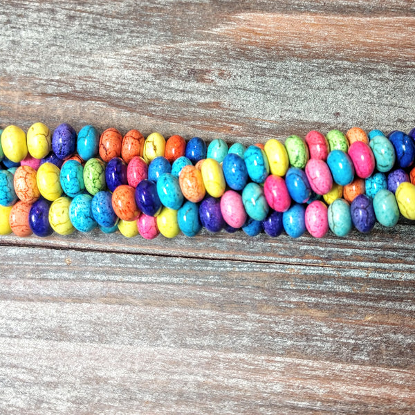 "GM-0687 -  Howlite Multi Color Rondelle Gemstone Bead Strand | 16"" Strand"