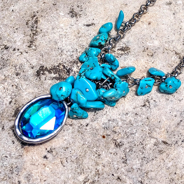 #PDF-545 - Blue Ice Waterfall Necklace