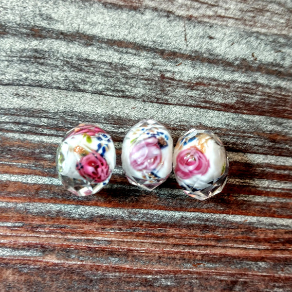 CRS-001 - Chinese Crystal Specialty Beads, Rondelle, White With Rose, 9x13mm | Pkg 3