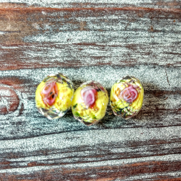 CRS-002 - Chinese Crystal Specialty Beads, Rondelle, Yellow With Rose, 9x13mm | Pkg 3