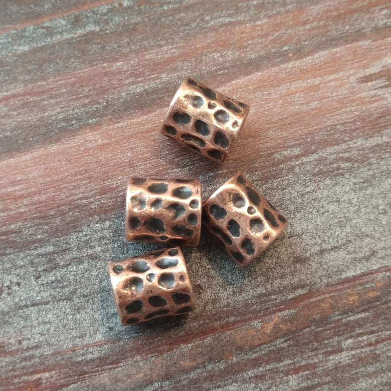 AB-5127 - Antique Copper Large Hole Barrel Bead, 8.5x10mm | Pkg 4