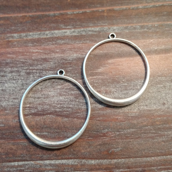 AB-5180 - Silver Plated Open Ring With Top Loop, 34mm | Pkg 2