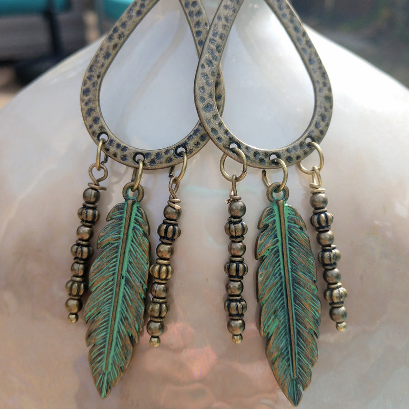 #PDF-560 - Boho Feather Earrings