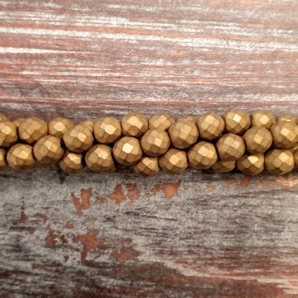 GM-0621 - Hematite Faceted Gemstone Bead Strand, Antique Gold, 6mm | Pkg 1 Strand