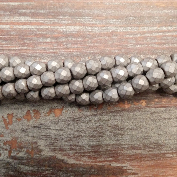 GM-0619 - Hematite Faceted Gemstone Bead Strand, Pewter, 6mm | Pkg 1 Strand