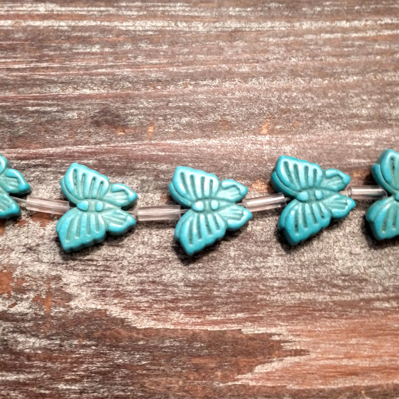 GM-0518 - Magnesite 15mm Butterfly Bead Strand, Turquoise Blue | 1 Strand