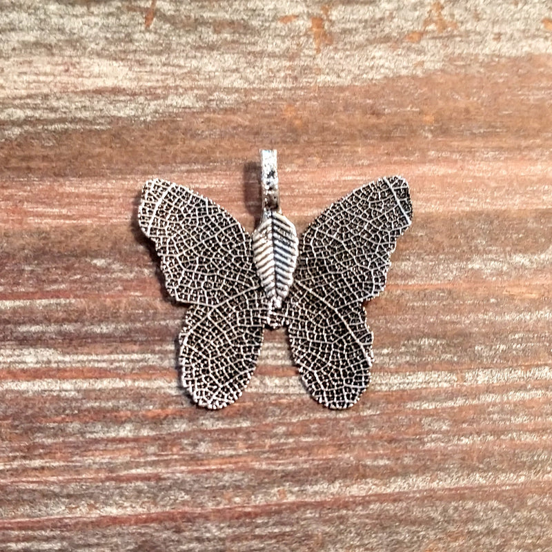 AB-3301 - Butterfly Pendant, Electroplated Leaf, Antique Silver, 31mm | Pkg 1