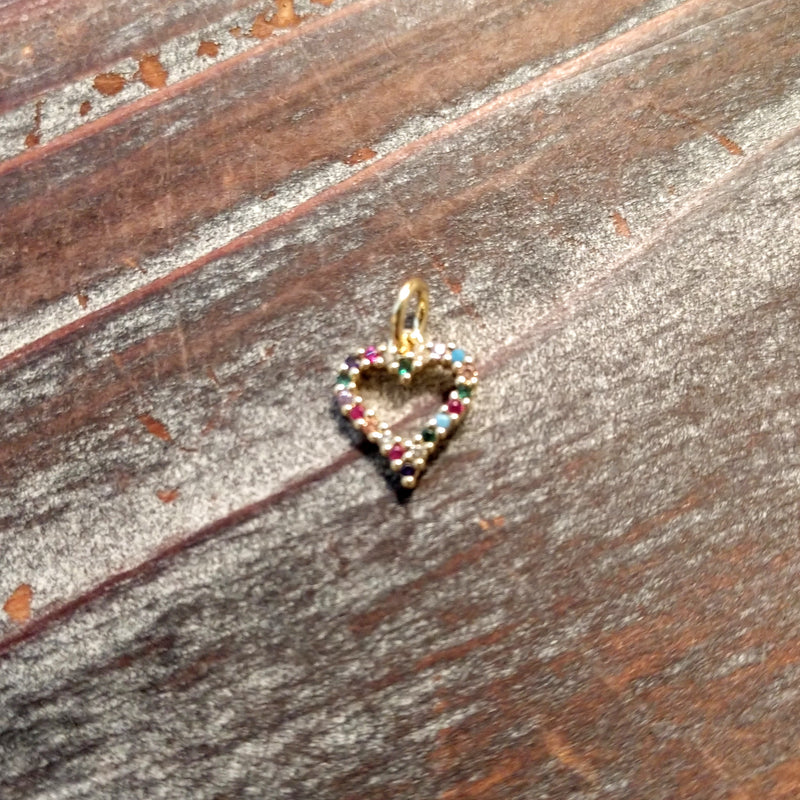 AB-3365 - Gold Plated Heart Charm With Crystals, 10mm | Pkg 1