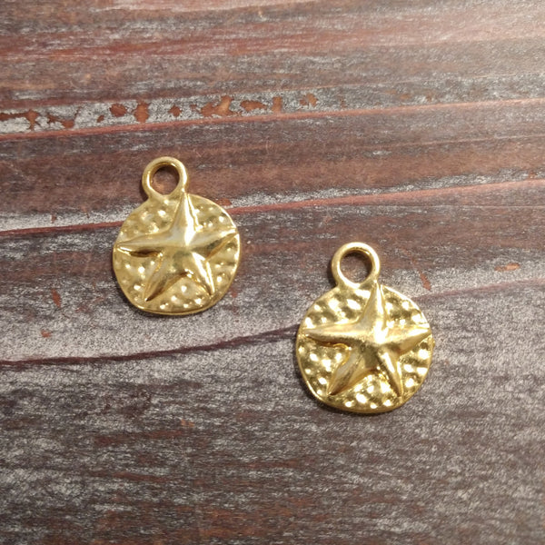 AB-3383 - Gold Plated Coin Charm With Star, 17mm | Pkg 2