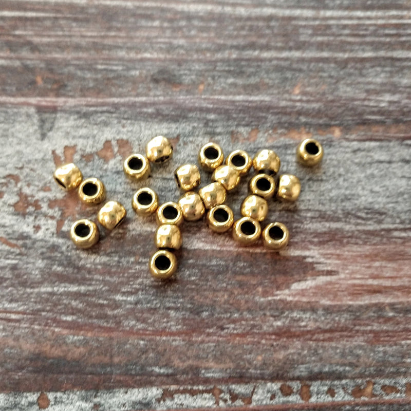 AB-3510 - Antique Gold Large Hole Round Beads, 5.5mm | Pkg 25