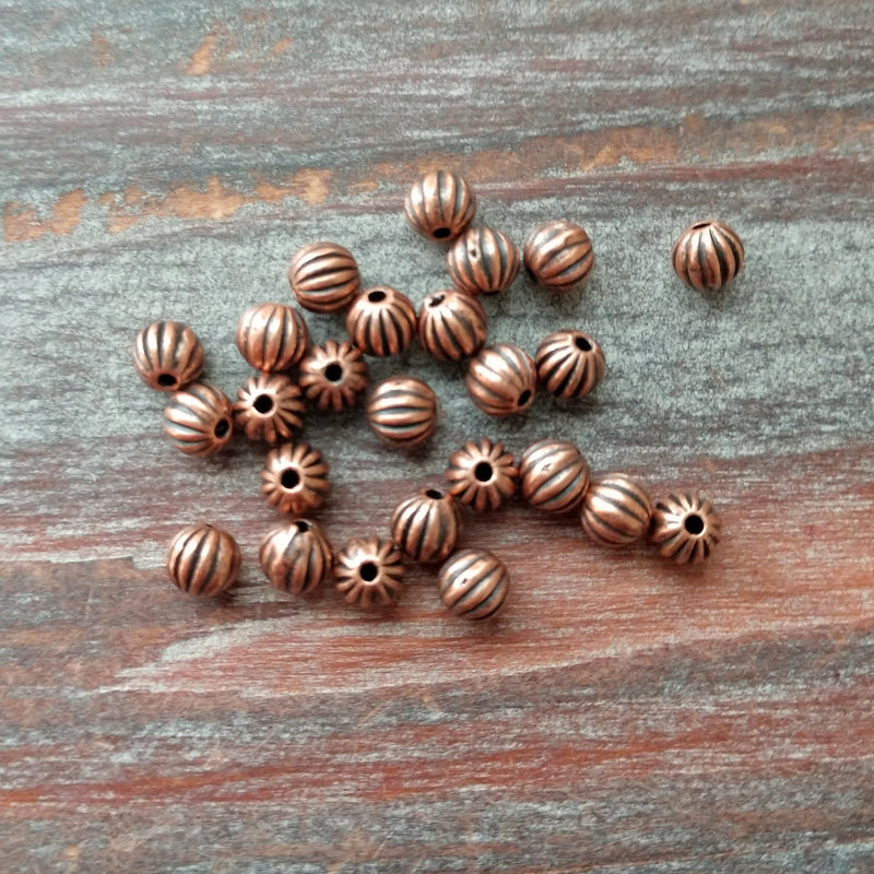 AB-5909 - Antique Copper Beads, Fluted, 4.5mm | Pkg 25