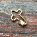 CL-AB-5934 - Gold Cross Screw On Clasp With Crystals, 19x27mm | Pkg 1