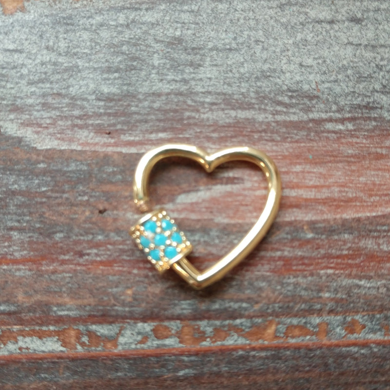 CL-AB-5930 - Gold Heart Screw Clasp With Turquoise Crystals, 20mm | Pkg 1