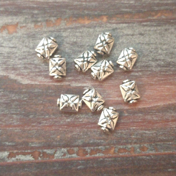 AB-5810 - Antique Silver Beads,  Puffed Rectangle With Design, 6x9mm | Pkg 10