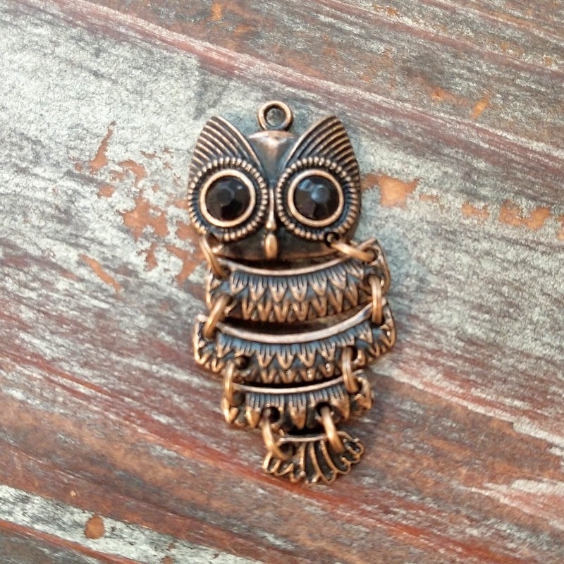 AB-5417 - Antique Copper Owl Pendant With Black Crystals, 20x48mm | Pkg 1