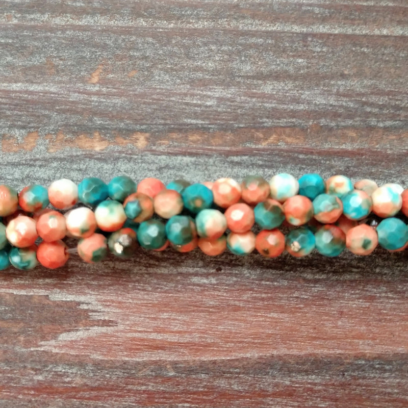 GM-5451 - Composite Of Turquoise Faceted Gemstone Beads, Sedona Sunset, 4mm | Pkg 1