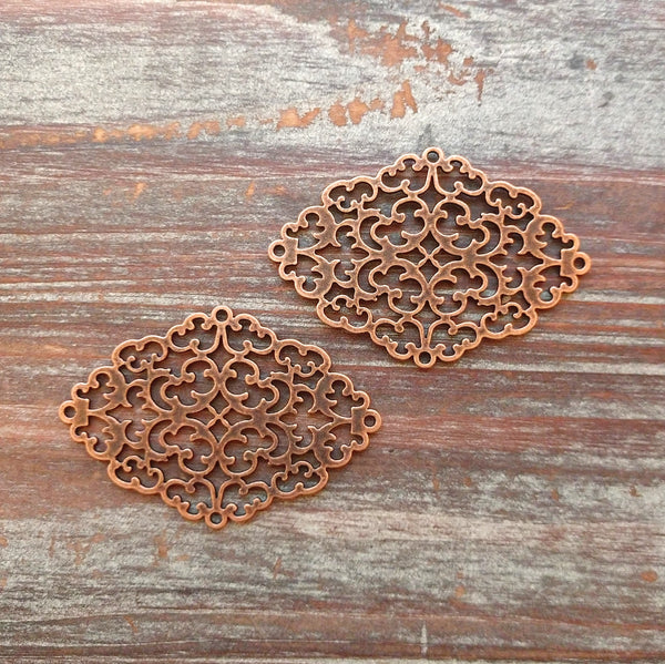 AB-7905 - Antique Copper Diamond Filigree Connector, 40x56mm | Pkg 2