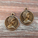 AB-7903 - Antique Brass Queen Elizabeth II Coins, 20mm | Pkg 2
