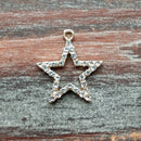 AB-7912 - Gold Star Charm/Pendant With Crystals, 22mm | Pkg 1