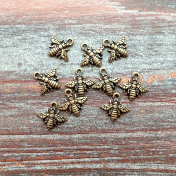 AB-7925 - Antique Brass Bee Charms, 11mm | Pkg 10