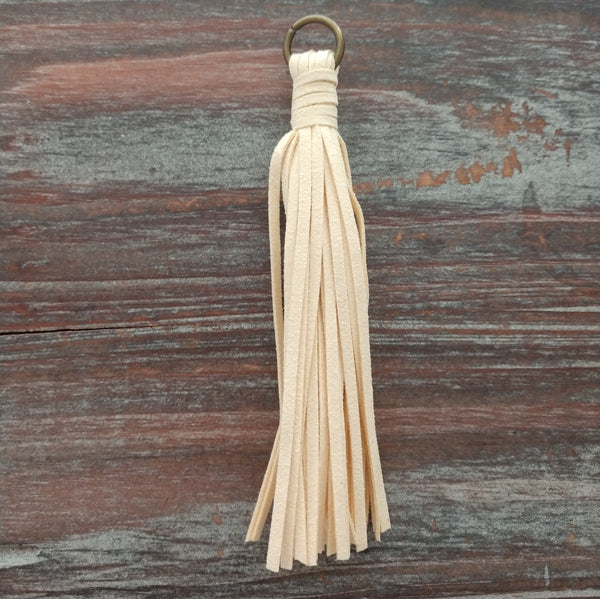 AB-5948 - Jewelry Tassel, Cream Ultra Suede, 4.5"