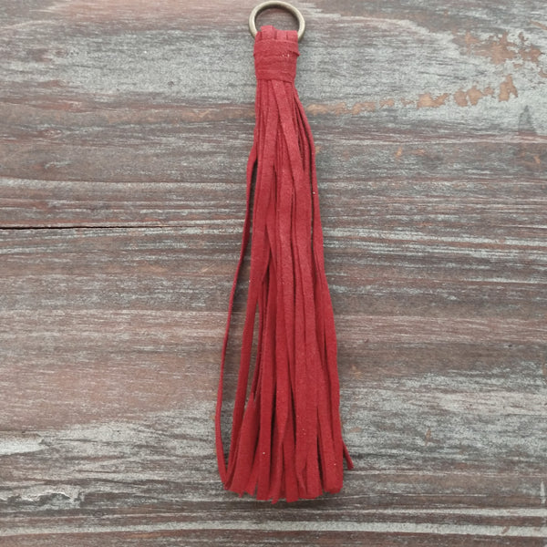 AB-5949 - Jewelry Tassel, Deep Red Ultra Suede, 4.5"