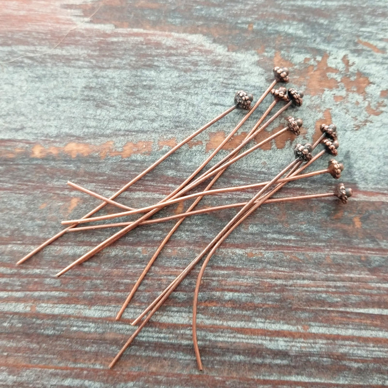 AB-7936 - Antique Copper Bail Style Head Pins With 4mm Top, 2"