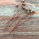 AB-7934 - Antique Copper Bali Style Head Pins With 6mm Top, 2"
