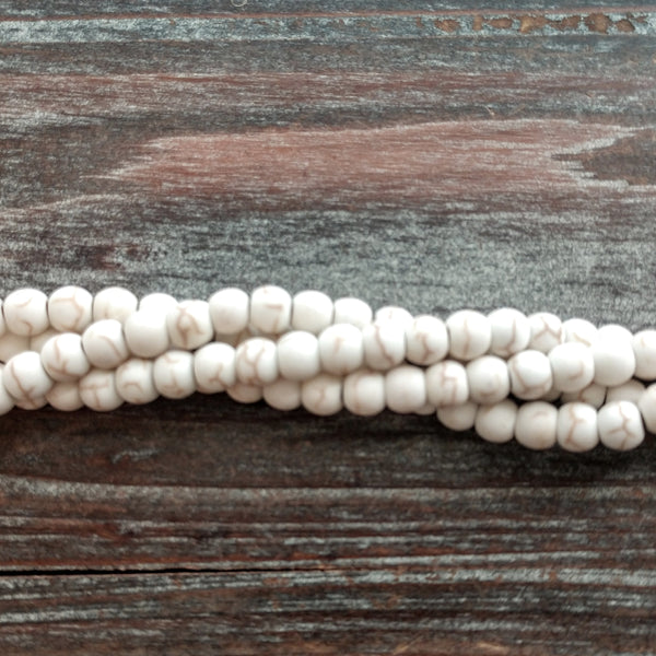 GM-5523 - Matte Cream Howlite Gemstone Bead Strand, 6mm | Pkg 1 Strand