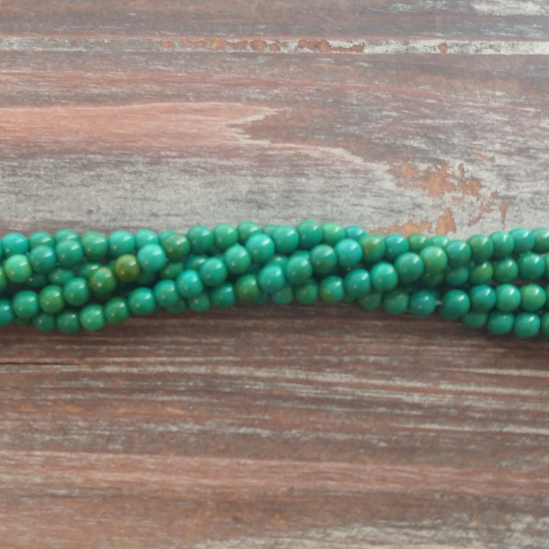 GM-5524 - Ocean Green Howlite Gemstone Bead Strand, 4mm | Pkg 1 Strand