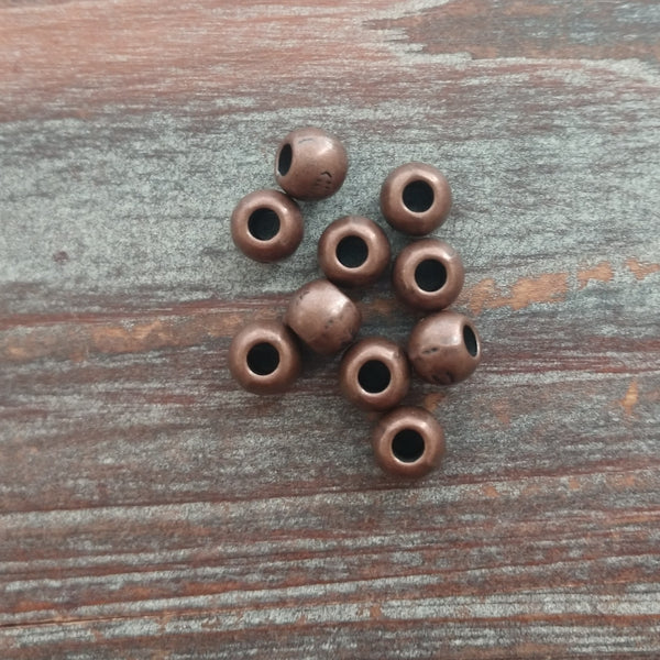 AB-7956 - Antique Copper Large Hole Round Beads, 7mm | Pkg 10