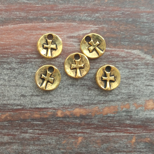 AB-7961 - Antique Gold Disc Charms With Cross, 10mm | Pkg 5