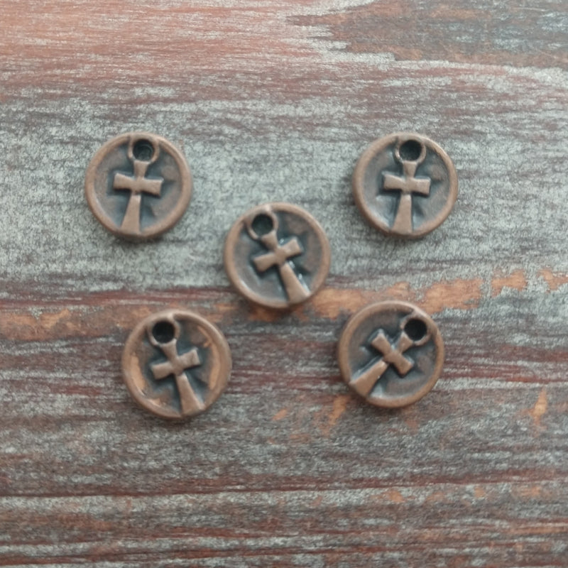 AB-7963 - Antique Copper Disc Charms With Cross, 10mm | Pkg 5