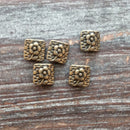 AB-7975 - Antique Brass Square Beads With Flower, 10mm | Pkg 5