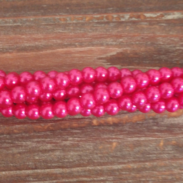 GPRL-0046 - Glass Pearl Bead Strand, Metallic Fuchsia, 6mm | 1 Strand