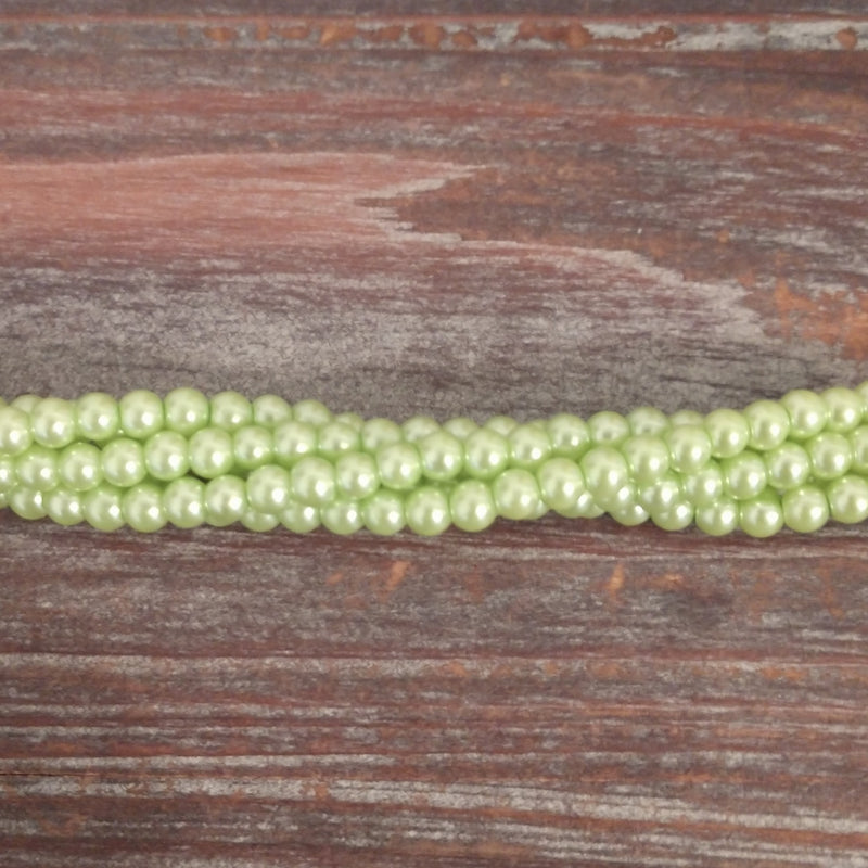 GPRL-0044 - Glass Pearl Bead Strand, Pastel Green, 4mm | 1 Strand.