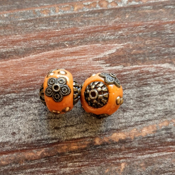 AB-8006 - Tibetan Style Beads, Burnt Orange, 13x14mm | Pkg 2
