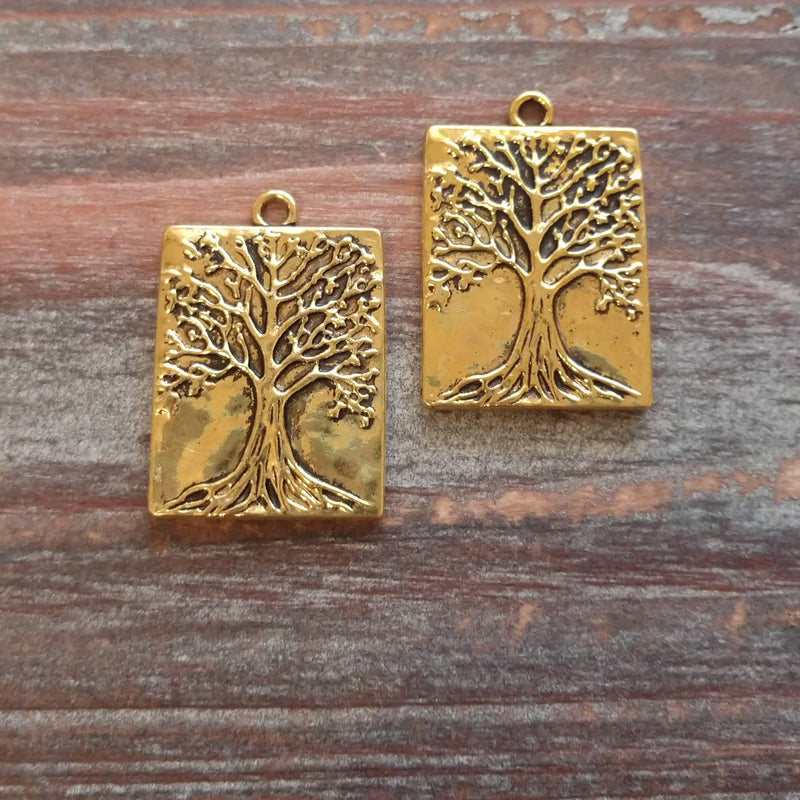 AB-8001 - Antique Gold Tree Of Life Pendant, 22x32mm | Pkg 2