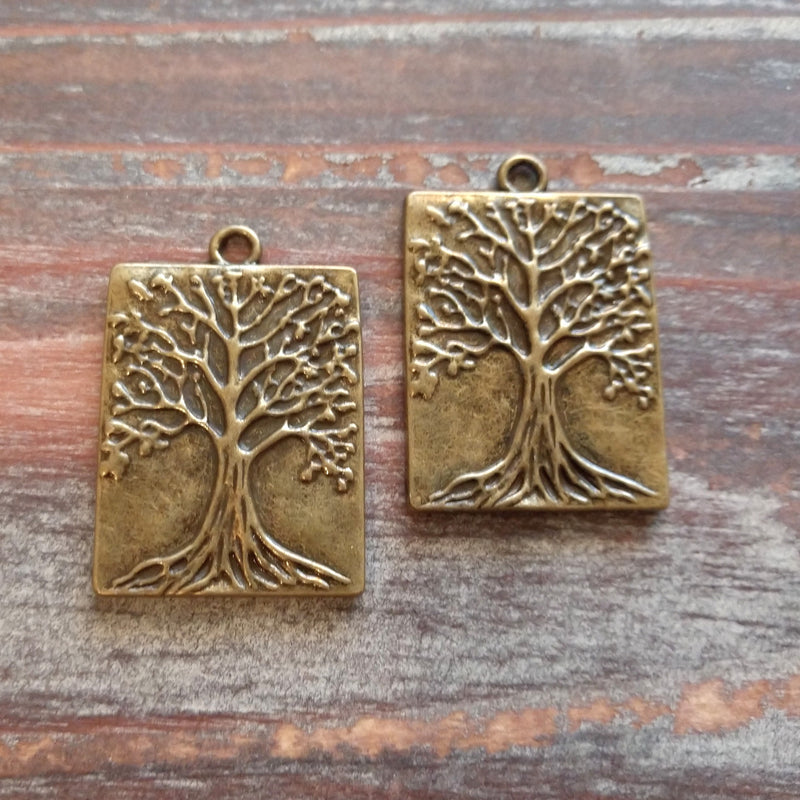 AB-8000 - Antique Brass Rectangle Tree Of Life Pendant, 22x32mm | Pkg 2